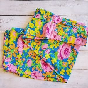 LuLaRoe Tall and Curvy bright floral leggings
